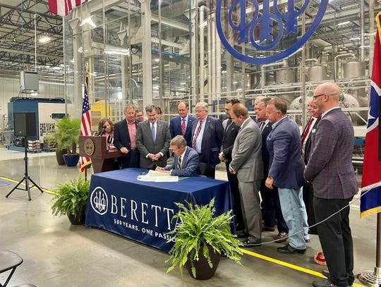 Gov. Bill Lee is flanked by Republican members of the state legislature Wed., June 2, 2021 during a ceremonial bill signing of his permitless carry legislation.