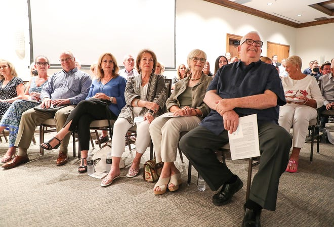 Members of the H.N. and Frances C. Berger Foundation listen to remarks during the groundbreaking of the Coachella Valley Arena at the Classic Club in Thousand Palms, June 2, 2021.