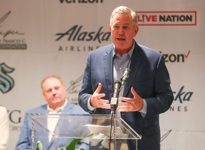 Tim Leiweke, CEO of the Oak View Group, speaks during the groundbreaking of the Coachella Valley Arena at the Classic Club in Thousand Palms, June 2, 2021.