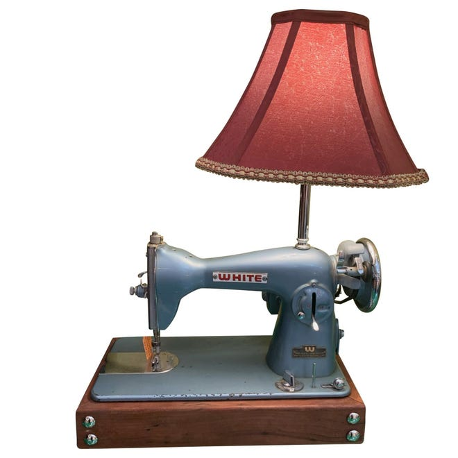 The industrial nature of sewing machines make for a popular steampunk component.