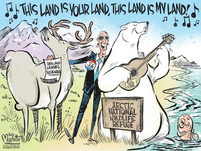 Marlette cartoon: Biden suspends drilling leases in Arctic National Wildlife Refuge