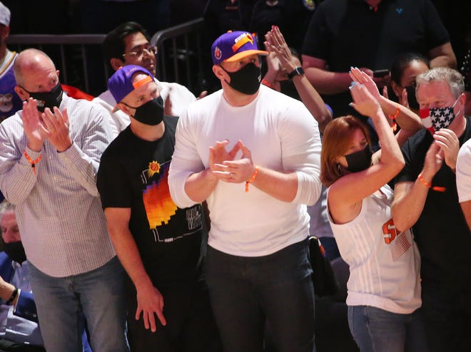 Arizona Cardinals' JJ Watt stands during the Western Conference first round playoff series between the Phoenix Suns and the Los Angeles Lakers in Phoenix June 1, 2021.