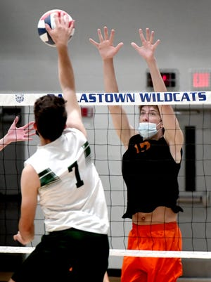 York Suburban's Brady Stump attempts to block a shot by Dock Mennonite's Jacob Shreiner in a first-round Class 2-A state playoff match at Dalllastown High School Tuesday, June 1, 2021. Bill Kalina photo