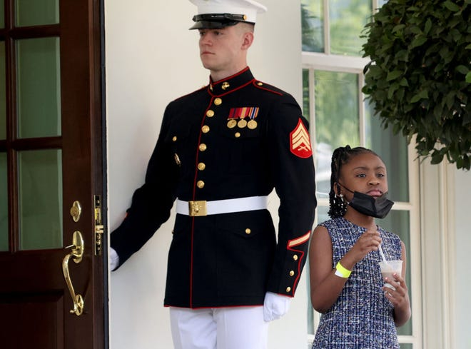 Gianna Floyd, daughter of George Floyd, departs the White House following a meeting between members of the Floyd family with U.S. President Joe Biden May 25, 2021 in Washington, DC. Biden met with Floyd's family members for over an hour on the one year anniversary of Floyd's death. (Win McNamee/Getty Images/TNS)