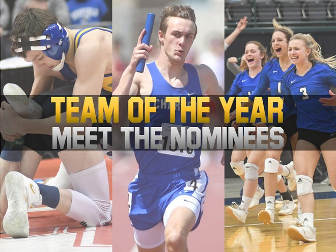2021 Team of the Year nominees (L-R): Canton wrestling, Sioux Falls Christian track & field, and O'Gorman volleyball.