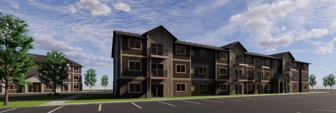 A computer rendering of new Aspen Heights apartments to be built at 5313 W. Pineridge Drive.
