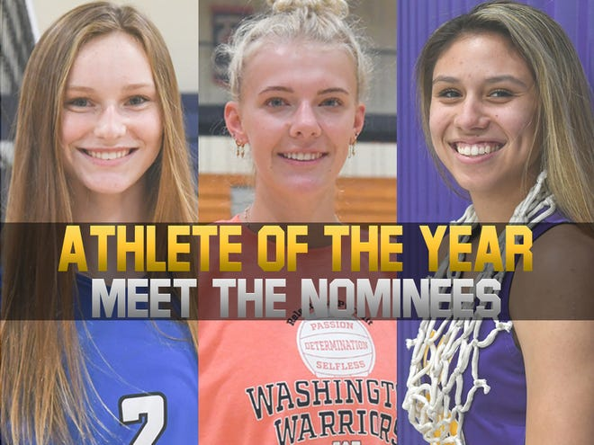 2021 Girls Athlete of the Year nominees (L-R): O'Gorman's Bergen Reilly, Washington's Sydni Schetnan and White River's Caelyn Valandra-Prue.