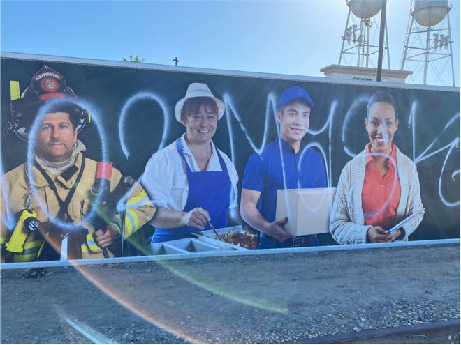 A mural honoring essential workers at the Kings Canyon Unified School District office was targeted by anti-mask vandals. A $1,500 reward is being offered for information leading to the vandal's arrest.