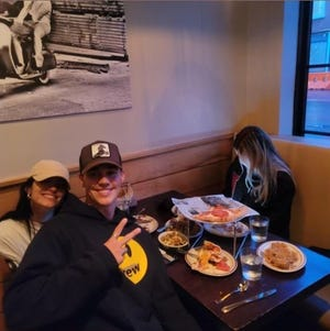 TikTok stars Dixie D'Amelio and Noah Beck visited Locali Pizza Bar & Kitchen in New Canaan, Connecticut