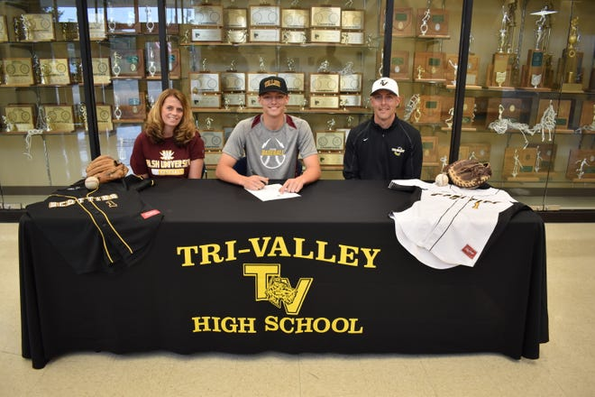 Tri-Valley senior Trevor Yoder signed his letter of intent to play baseball for Division II Walsh University this past Saturday. His parents, Donna (left) and Kevin (right) are also pictured, and Trevor plans to major in education.