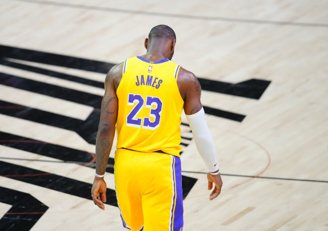 Lakers forward LeBron James reacts during the second half of Game 5 against the Suns.