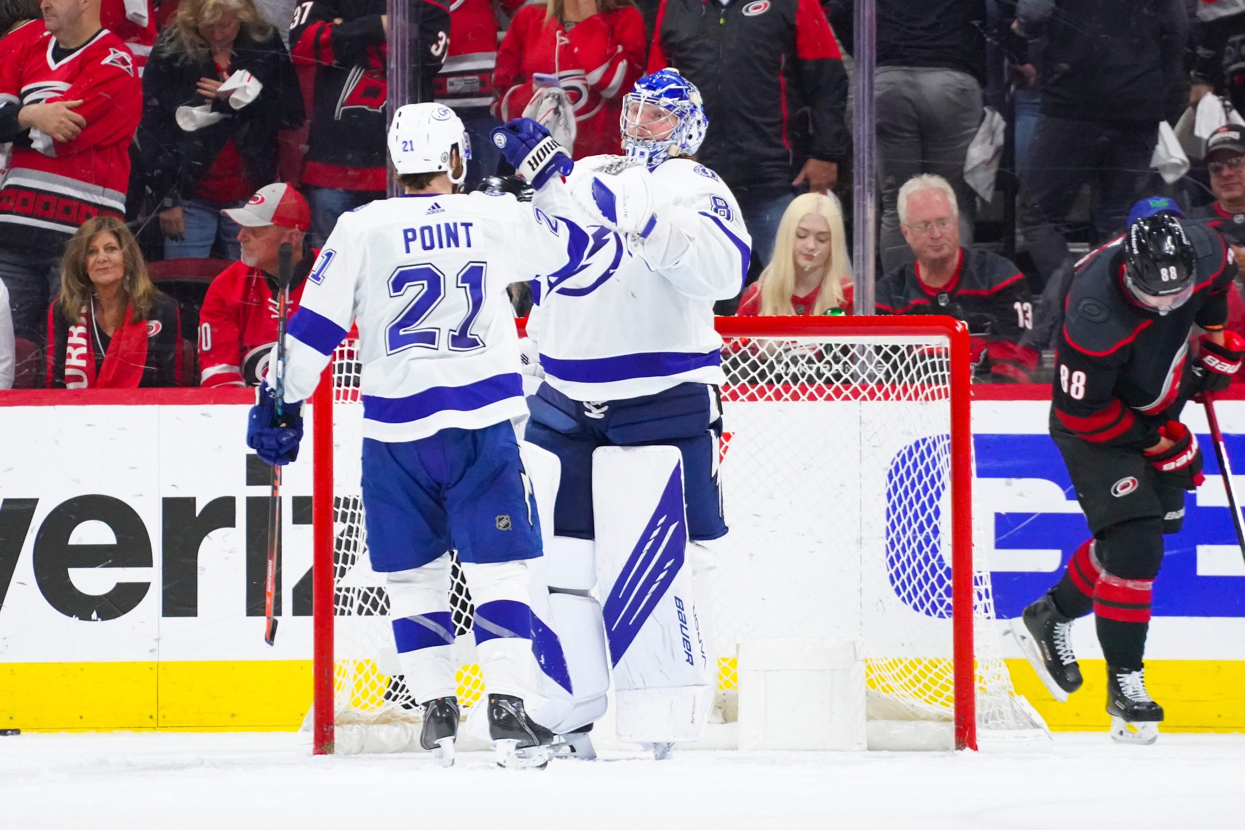Vezina Trophy finalist Andrei Vasilevskiy leads Lightning past Hurricanes in Game 2 of NHL playoffs