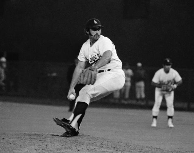 Dodgers pitcher Mike Marshall faces American League hitters the 1974 MLB All-Star Game in Pittsburgh.