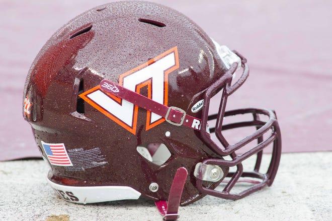 A Virginia Tech Hokies helmet.