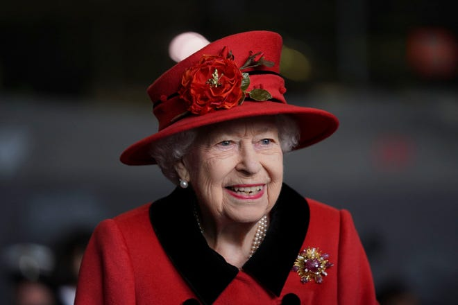 Queen Elizabeth II during a visit to the Queen Elizabeth II before the ship's first deployment on May 22, 2021, in Portsmouth, England.