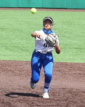 Georgetown sophomore shortstop Isa Torres fields a grounder and fires to first for the out during the decisive game three against Leander in the Class 5A Region IV finals last week. A former Hendrickson player as a freshman, Torres has become one of the top players for Georgetown, which faces Aledo in a Class 5A state semifinal Friday.