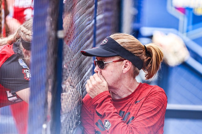Georgia coach Lu Harris-Champer during the Bulldogs' game against Oklahoma State in the Women's College World Series in Oklahoma City, Okla., on Thursday, June 3, 2021. (Photo by Tony Walsh)