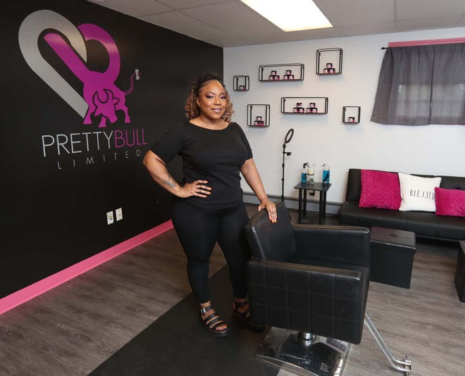 Saitta Bridges-Pennington inside the studio of her hair braiding business, PrettyBull Limited, in Twinsburg.