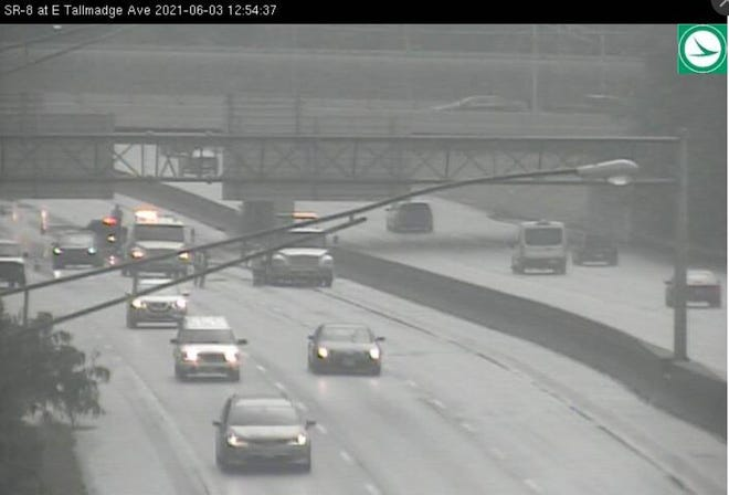 A semi crash blocked three lanes of northbound traffic on Route 8 around noon in Akron Thursday.