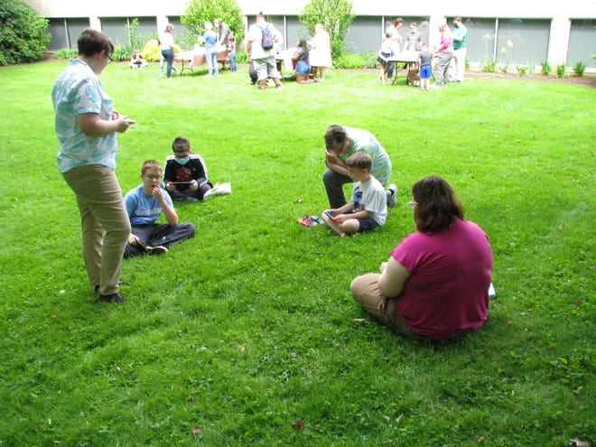 """Youngsters participate during this week's """"Animal Crossing: New Horizons"""" event at Rodman Public Library."""