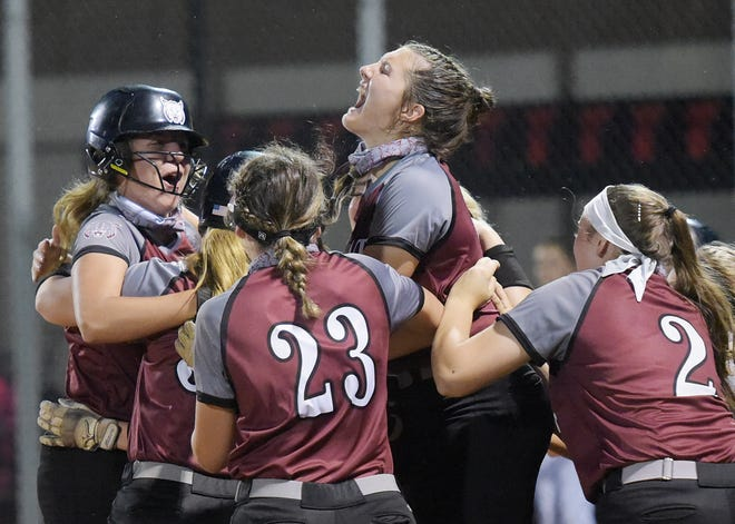 The Beaver Bobcats celebrate their 2-1 win over Highlands during the WPIAL Class 4A championship game, Wednesday at California University.[Sally Maxson/For BCT]