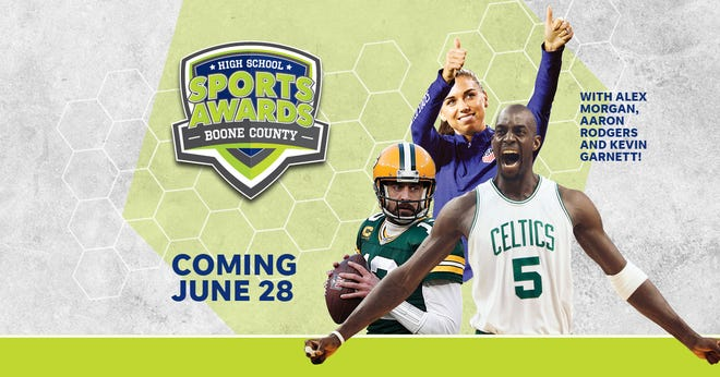 NBA champion and MVP Kevin Garnett joins celebrity athletes, including Alex Morgan and Aaron Rodgers, announcing the winners of the Boone County High School Sports Awards.