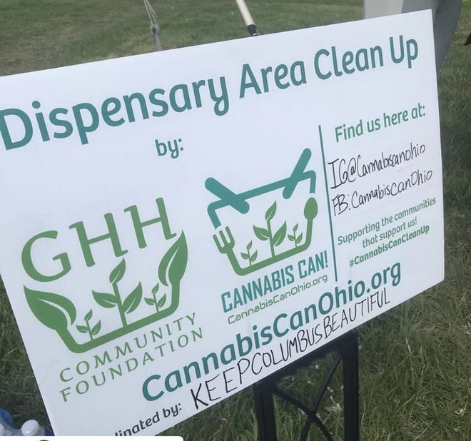 A sign announcing a dispensary area clean-up in Columbus earlier this spring.