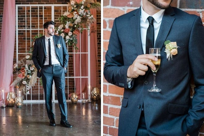 A model wears a suit from Pursuit