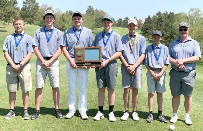 The Fertile-Beltrami boys' golf team is pictured after winning the 2019 Section 8A Championship. First and second from right are Masen Nowacki and Rylin Petry, who helped the Falcons to this year's section title along with head coach Keith Pederson (farthest right).