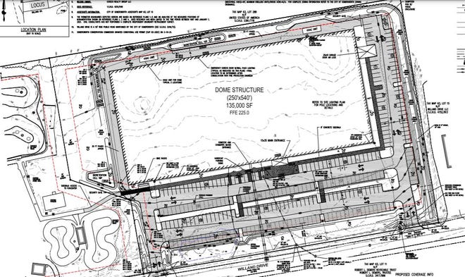 The site plan for a 135,000-square-foot sports dome complex proposed in Somersworth.