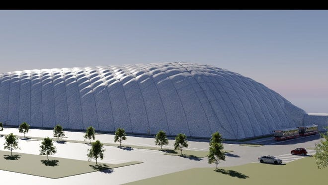 A rendering of what the proposed Sports Hub dome will look like when completed.