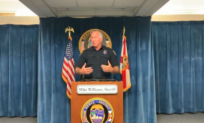 Undersheriff Pat Ivey conducts a news conference about the DUI arrest of an officer who was driving a marked police vehicle.