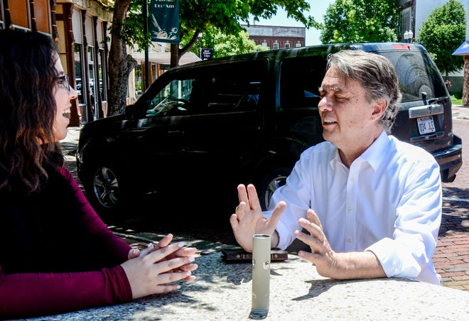 Former Kansas governor Jeff Colyer, right, made a campaign stop in Garden City Wednesday.  The Republican is running for governor.