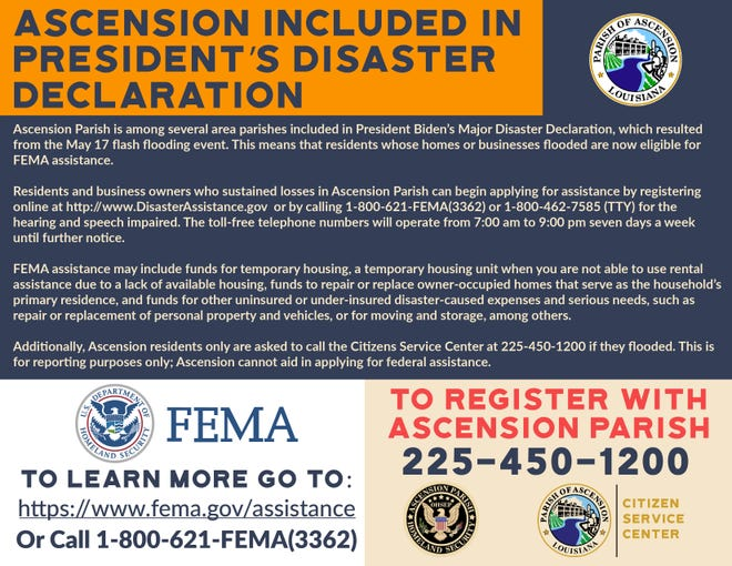 Ascension Parish residents who suffered damage in the May 17 flash flooding event can apply for FEMA aid.