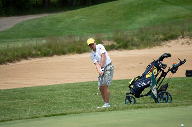 Hillsdale sophomore Jack Granata looks to sink a shot on hole 16 at the regional tournament.