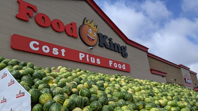 """Lubbock's Food King store at 82nd Street and Slide Road this week unveiled its """"World's Largest Watermelon Display."""""""