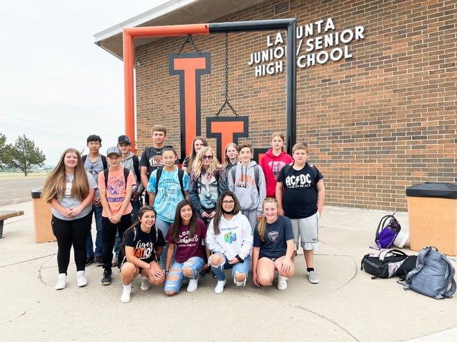 A total of 16 new members were inducted into the La Junta Junior/Senior High School National Junior Honor Society. Back row, from left, Sumi Gabehart, Triston Bender, Trevor Johnston, Alyson Pounds, Oakley Jones and Josslyn Marx. Middle row, from left, Elah Backes, Noah Pearson, Isabella Ortiz, Emilee Hall, Hunter Isaacs and John Smith. Front row, from left, Brooklyn Lovato, Zeyairah Bickel, Calei Armendariz and Brylee Gearhart.