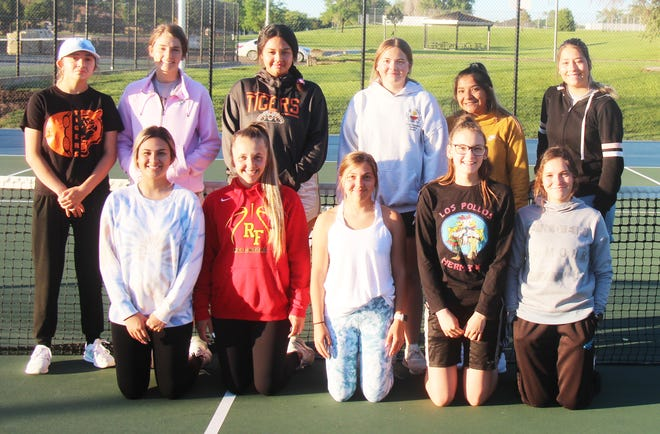 The 2021 La Junta High school girls tennis players who will compete at the Class 3A Region 7 Tournament June 4 and 5, 2021, in Pueblo. Back row, from left, Dayjiana Herman, Emily Noll, Aaliyah Trujillo, Kaylee Peabody, Azalea Gamez and Hailee Ham. Front row, from left, Kaylee Hernandez, Teagan Mendoza-Werner, Torrin Mendoza-Werner, Leia Mora-Menges and McKenna Aragon.