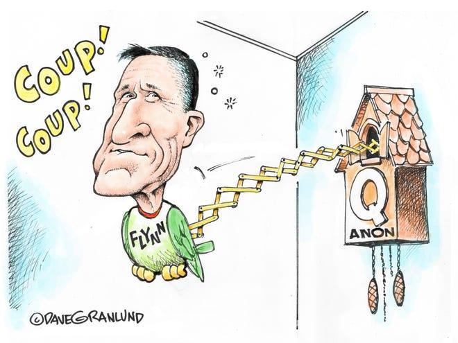 Dave Granlund cartoon on Flynn's talk of a coup