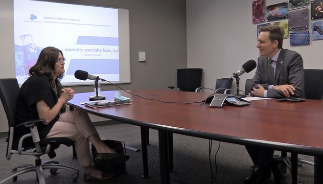 Jennifer Ellis, president and chief chemist at Cosmetic Specialty Labs in Lawton, talks with Lt. Gov. Matt Pinnell during a recent Innovate That podcast.