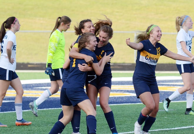 Gaylord players rush in to celebrate with teammate Haiven Gautreau (1) after she scored a goal to put the Blue Devils up 2-0 on Petoskey in their district match.