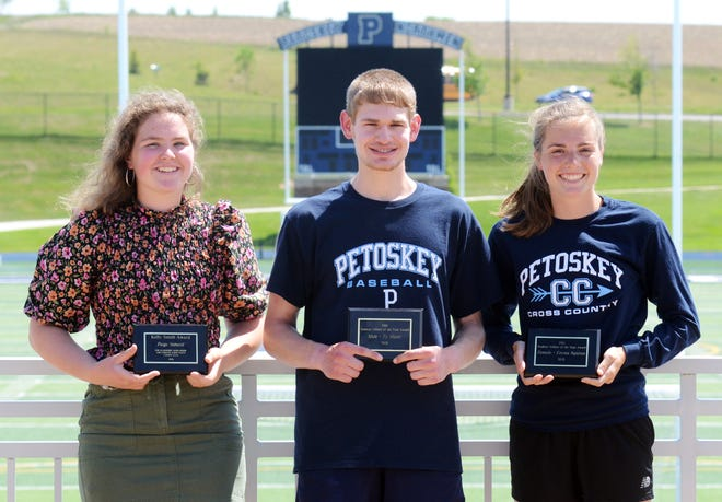 Petoskey student athletes (from left) Paige Simard, Ty Slater and Emma Squires were recently recognized by the school, claiming some hardware after outstanding careers.