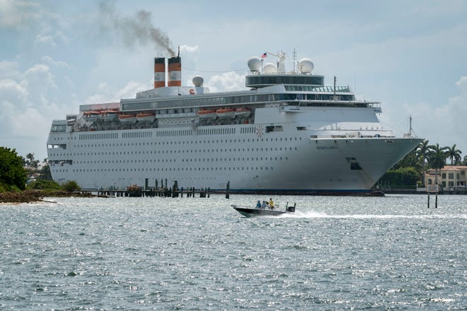 The Grand Classica returns to the Port of Palm Beach on June 3. The ship was scheduled to resail for the first time since the pandemic shutdown of the cruise industry on May 14, 2020.