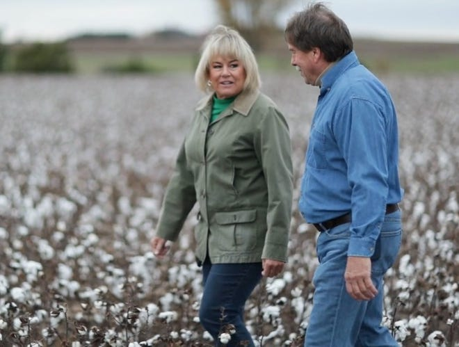 Stuart and Teri Briggeman farm thousands of acres in northwestern Pratt County, with more than 3,200 planted to cotton this year. Briggeman West Farm recently won an award for their 2020 cotton crop from BASF.