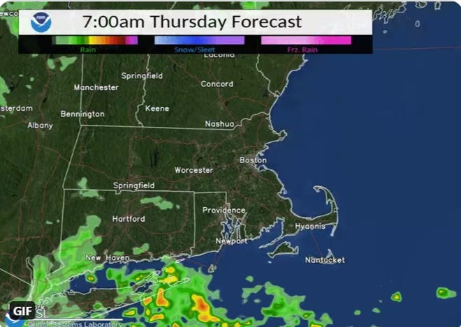 Rain is expected to move across the region Thursday and Friday, according to the National Weather Service.