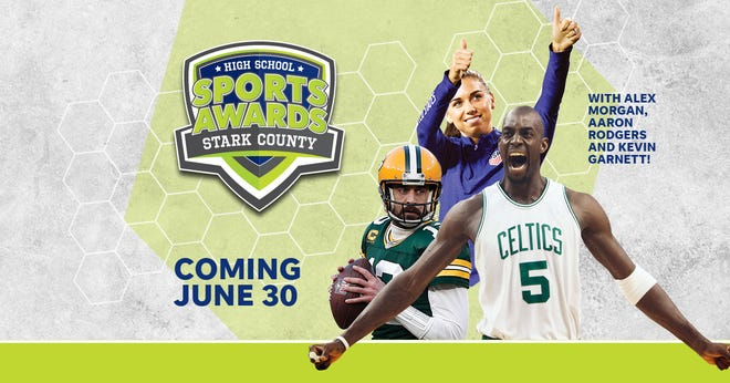 NBA Champion and MVP Kevin Garnett joins celebrity athletes, including Alex Morgan and Aaron Rodgers, announcing the winners of the Stark County High School Sports Awards.