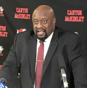 Jeff Talbert, superintendent of the Canton City School District, discussed the decision to dismiss seven McKinley football coaches with media. He said their conduct involving a player was not appropriate for the district. Among those fired included head coach Marcus Wattley. Antonio Hall, the athletic director, was named interim head coach.