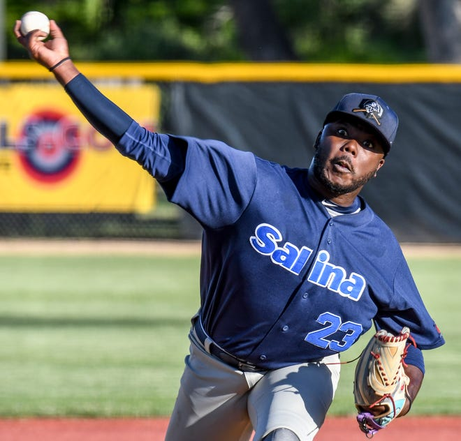 The Salina Stockade's Mario Alston delivers a pitch against the Garden Cty Wind on June 2 in Garden City. The Stockade announced Tuesday that they will not play any home games in Salina this season.