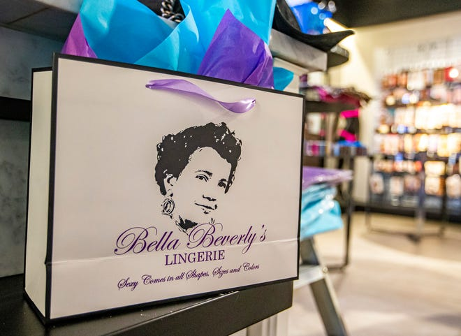 A portrait of Beverly Austin adorns the shopping bags for Bella Beverly's Lingerie, located in University Park Mall in Mishawaka.