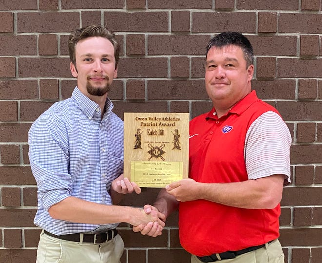 """Recent Owen Valley graduate Kaleb Dill, a member of the 2021 varsity baseball team, was the recipient of the Spring Patriot Award at Owen Valley High School Wednesday evening. A four-year varsity letter winner, Kaleb was the number one pitcher for the Patriots this season, appearing in 11 games with 46 strikeouts and a 3.65 ERA. He was fourth in batting average and on-base percentage and fifth in hits and RBI. According to his coach Trent Heckman, """"He has been a great leader on a very young team that has dealt with the tragic loss of their coach. He has led by example as well as vocally. He is a great teammate."""" Kaleb was a great student in the classroom as well, graduating 10th in his class. He plans to attend IU Southeast next year to study pediatric nursing. Dill is shown with OVHS Athletic Director Brad Greene. More from the Spring Sports Awards is featured inside today's Spencer Evening World."""